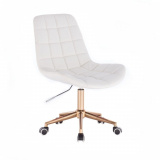 Kosmetická židle PARIS na zlaté podstavě s kolečky - bílá