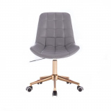 Kosmetická židle PARIS na zlaté podstavě s kolečky - šedá