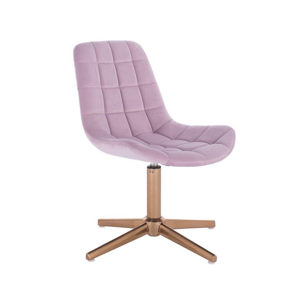Kosmetická židle PARIS na zlatém kříži - fialový vřes
