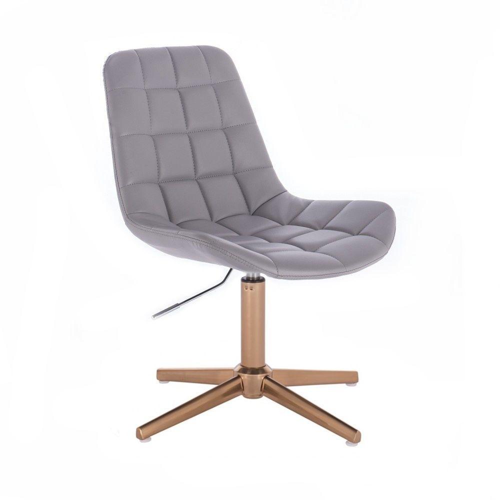 Kosmetická židle PARIS na zlatém kříži - šedá